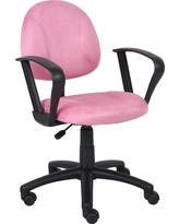 Microfiber Deluxe Chair with Loop Arms Pink - Boss Office Products