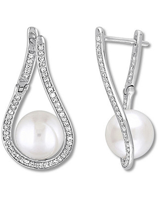 Cultured Pearl Earrings 1/3 ct tw Diamonds 14K White Gold
