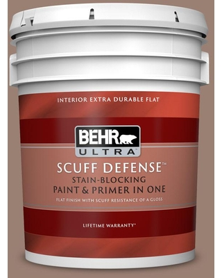 BEHR ULTRA 5 gal. #N190-5 Frontier Brown Extra Durable Flat Interior Paint & Primer