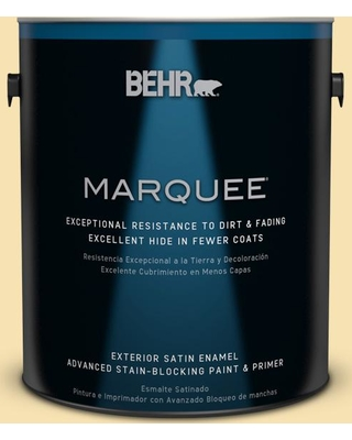 BEHR MARQUEE 1 gal. #370C-3 Sweet Corn Satin Enamel Exterior Paint and Primer in One