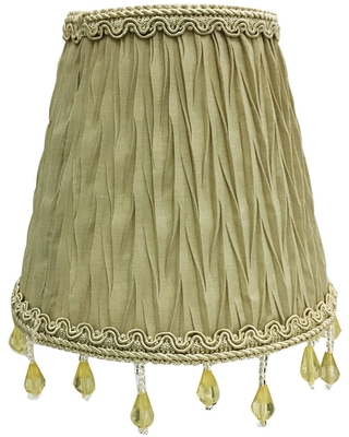"""Royal Designs Chandelier Lamp Shade - 3"""" x 5"""" x 4.5"""" - Ruche Pleated Empire - Antique Gold - Clip-On (Single)"""
