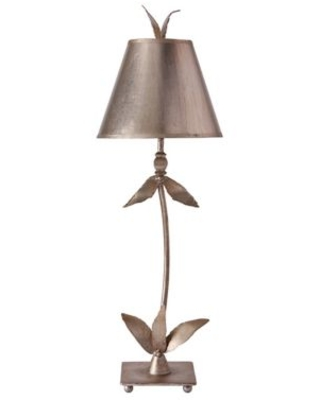 Red Bell Buffet Table Lamp in Antique Silver