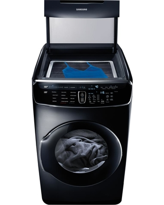 Samsung 7.5 Total cu. ft. Electric FlexDry Dryer with Steam in Black Stainless, Black Stainless Steel