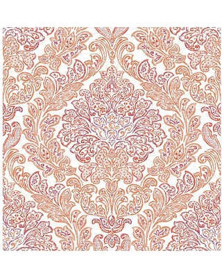 MANHATTAN COMFORT INC Encinitas, Orange Fontaine Damask Paper Strippable Wallpaper Roll (Covers 56.4 sq. ft.)