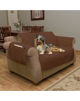 Shop Petmaker Waterproof Quilted Box Cushion Loveseat Slipcover Upholstery Brown Polyester Polyester Blend In Brown Gray Size 75 91 W X 75 91 D