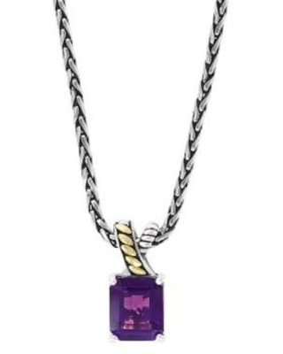 Effy Silver/Yellow Gold 5.4 ct. t.w. Amethyst Pendant Necklace in 925 Sterling Silver and 18k Yellow Gold