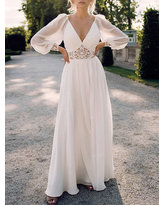 Milanoo Maxi Dress Polyester Casual V Neck Long Sleeves White Long Lace Dresses