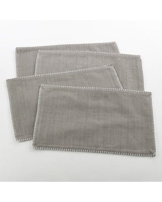 Whip Stitched Design Placemat (Set of 4) (Grey)