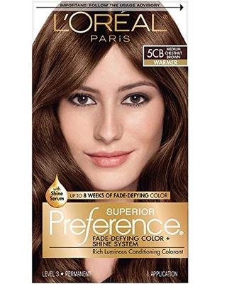 L'Oreal Paris Superior Preference Fade-Defying + Shine Permanent Hair Color, 5CB Medium Chestnut Brown, Pack of 1, Hair Dye