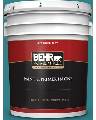 BEHR Premium Plus 5 gal. #icc-75 Tapestry Teal Flat Exterior Paint and Primer in One