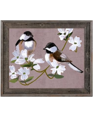 """Click Wall Art 'Two Chickadees' Framed Painting Print BRD0000044FR Size: 23.5"""" H x 27.5"""" W x 1"""" D"""