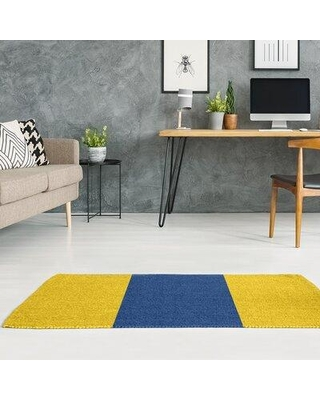 East Urban Home La Horns Throwback Football Yellow Area Rug FCJK9372 Rug Size: Rectangle 2' x 3' Backing: Yes
