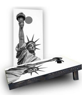 Custom Cornhole Boards Lady Liberty Statue Cornhole Boards CCB1711-C Bag Fill: Heavier Boards with All Weather Bags/Handles
