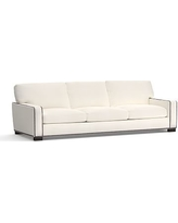 """Turner Square Arm Upholstered Grand Sofa 105"""" with Bronze Nailheads, Down Blend Wrapped Cushions, Denim Warm White"""