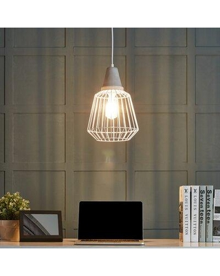 Deals For Wrought Studio Mundy 1 Light Single Geometric Pendant Shade Metal In White Size Small 7 11 Wide Wayfair
