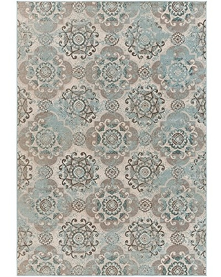 """Liana Teal, Taupe and Beige Transitional Area Rug 5'3"""" x 7'6"""