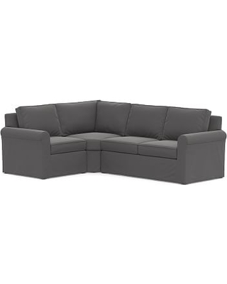 PB Comfort Square Arm Slipcovered Left 3-Piece Bumper Sectional, Box Edge Memory Foam Cushions, Performance Chateau Basketweave Blue