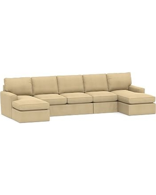 Pearce Square Arm Slipcovered 4-Piece Chaise Sectional, Down Blend Wrapped Cushions, Performance Everydaysuede(TM) Oat