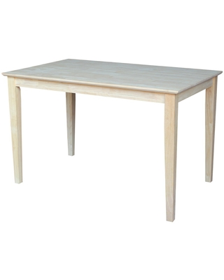 30' X 48' Solid Wood Dining Table with Shaker Legs Unfinished - International Concepts