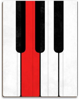 "Click Wall Art 'Red Piano G Note' Graphic Art on Plaque MUS0000171PLK Size: 20"" H x 16"" W x 1"" D"