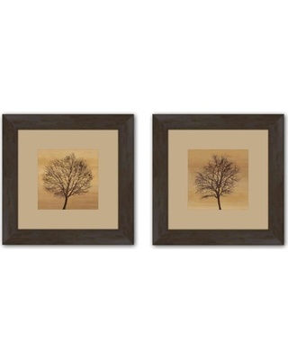 """PTM Images 19.5 in. x 19.5 in. """"Silhouette"""" Matted Framed Wall Art (Set of 2)"""