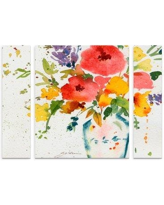 """Ophelia & Co. 'White Vase with Flowers' Acrylic Painting Print Multi-Piece ImAge on Wrapped Canvas OPHL9646 Size: 30"""" H x 41"""" W x 2"""" D"""