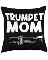 Funny Cornet Lover Musican Themed Designs Gift for Mom Women Brass Band Trumpet Player Throw Pillow, 18x18, Multicolor