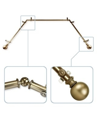 """InStyleDesign Tegan 13/16"""" Bay Window Curtain Rod - 20-36 inches, 38-72 inches (Antique/Brass Finish - Antique Brass)"""