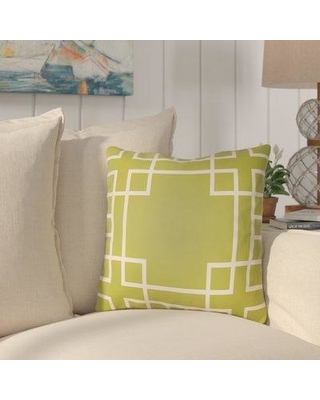 """Bay Isle Home Fareham Indoor/Outdoor Throw Pillow BYIL3073 Size: 18"""" H x 18"""" W Color: Lime Green/Ivory"""