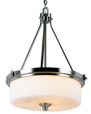 Trans Globe Imports 7927 BN Transitional Three Light Pendant from Richmond Collection in Pewter, Nickel, Silver Finish, 20.00 inches