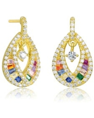 Collette Z Sterling Silver with Rhodium Plated Baguette and Round Cubic Zirconia Pear Drop Earrings (Multi - Yellow)