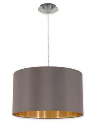 EGLO Maserlo 1-Light Pendant with Drum Shade in Brown
