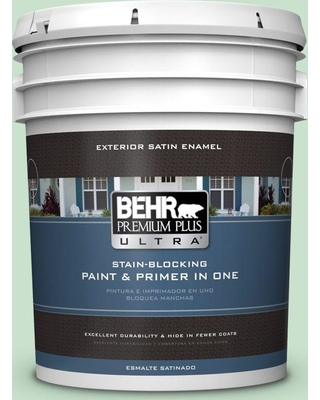 BEHR ULTRA 5 gal. #M410-2 Wishful Green Satin Enamel Exterior Paint and Primer in One