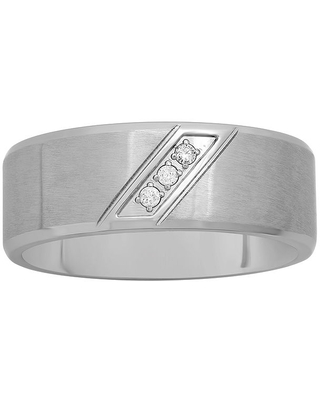 Mens Diamond-Accent Stainless Steel 8mm Comfort Fit Wedding Band, 11