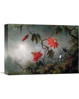 """Global Gallery 'Passion Flowers and Hummingbirds' by Martin Johnson Heade Painting Print on Wrapped Canvas GCS-375810-16-142 / GCS-375810-22-142 Size: 15.62"""" H x 22"""" W x 1.5"""" D"""