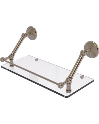 Allied Brass Prestige Monte Carlo 18 in. Floating Glass Shelf with Gallery Rail in Antique Pewter
