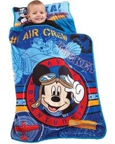"Disney Mickey's Flight Academy Toddler 0.25"" Thick Folding Nap Mat, Polyester in Blue, Size 33""H X 44""W X 1""D 