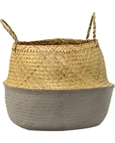 Seagrass Basket with Handles - Natural/Gray (19) - 3R Studios