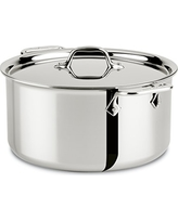 All-Clad 4508 Stainless Steel Tri-Ply Bonded Dishwasher Safe Stockpot with Lid / Cookware, Silver