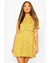 Womens Ditsy Floral Smock Dress - Yellow - 14