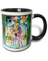 Deals For East Urban Home The City Girls W Umbrellas The Mood Of This Piece Nothing Will Get You Down Even A Rainy Day Coffee Mug Ceramic In Tan Green Cream