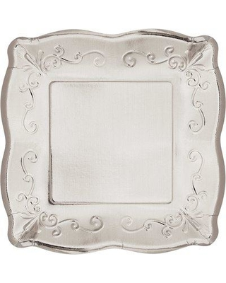 Creative Converting Square Banquet Paper Dinner Plate 333 Color: Silver