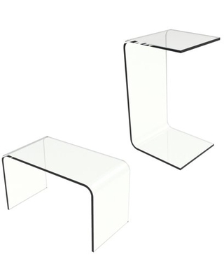 Acrylic Side Table-Modern C-Style Vertical End Table or Lap desk