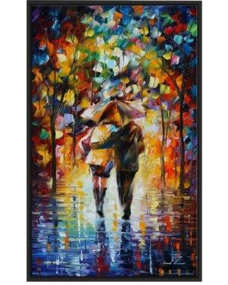 "Winston Porter 'Bonded by the Rain II' Framed Oil Painting Print on Wrapped Canvas BF022934 Size: 43.5"" H x 27.5"" W x 2"" D"