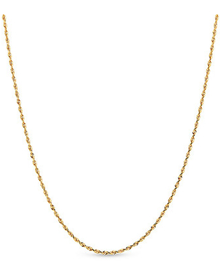 """Jared The Galleria Of Jewelry Glitter Rope Chain Necklace 14K Yellow Gold 18"""""""