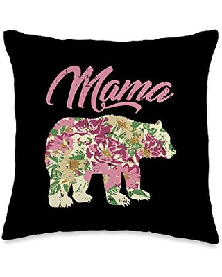 BoredKoalas Mother's Day Mom Gifts Pillows Mama Bear Cute Best Mom Day Mommy Ma Mother Gift Throw Pillow, 16x16, Multicolor
