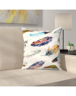 """Feathers Throw Pillow East Urban Home Size: 16"""" x 16"""""""
