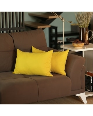 Solid Color Decorative Lumbar Throw Pillow Covers (2 pcs in set) (Yellow)