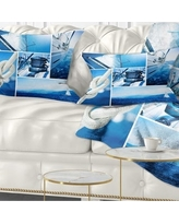 Don T Miss Deals On Designart Sailing Yacht In Blue Sea Collage Seashore Throw Pillow Round 20 Inches Round Large