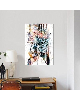 """East Urban Home Floral Skull Series 'III' Graphic Art Print on Canvas URBH7168 Size: 18"""" H x 12"""" W x 0.75"""" D"""